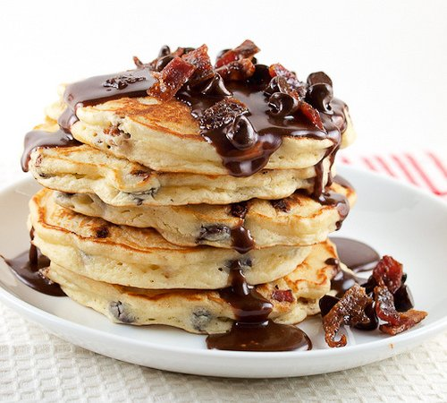 Chocolate Chip and Candied Bacon Pancakes with Nutella Maple Syrup