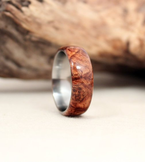 Honduras Rosewood Burl Lined with Titanium Wood by WedgewoodRings