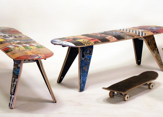 Inspiyr.com | Upcycled Skateboard Furniture from Deckstool