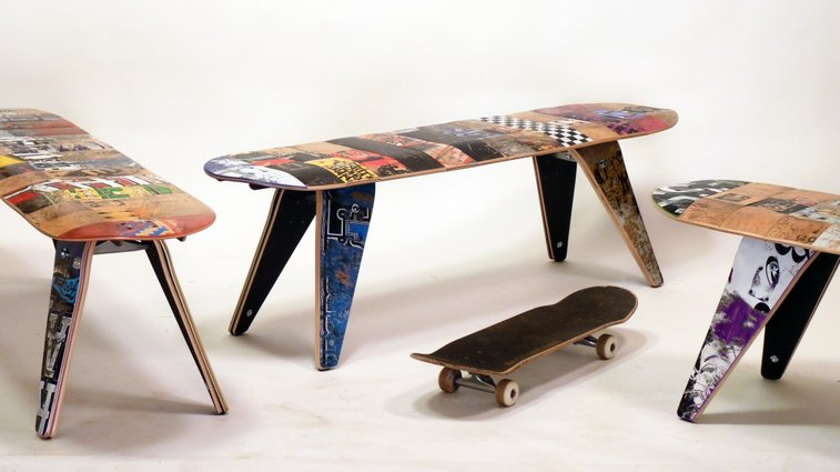 Inspiyr.com | Upcycled Skateboard Furniture from Deckstool