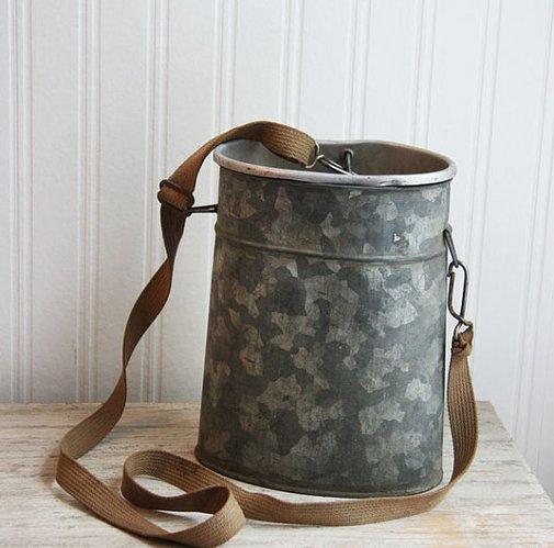 Vintage Bait Bucket fishing fisherman Metal minnow by MollyFinds