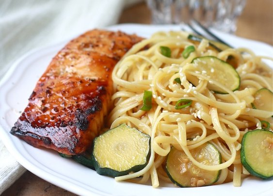Zucchini Pasta with Teriyaki Salmon