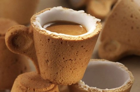 Better than a reusable coffee cup: An edible coffee cup made out of a cookie