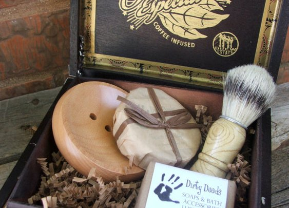 Wooden Mens Shave Set with Cigar Box Cyber by DirtyDeedsSoaps