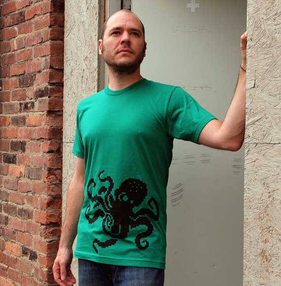 8Bit Octopus men's small shirt pixel retro by blackbirdandpeacock