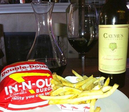 Cabernet Sauvignon with a burger