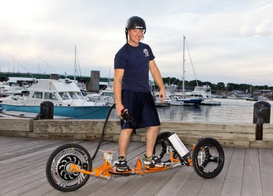 Tribey electric trike can be ridden standing or recumbent