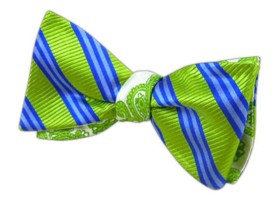 Bar Stripe - Action - Apple Greens (Reversible Bow Ties) - Bar Stripe - Action - Apple Greens (Reversible Bow Ties)