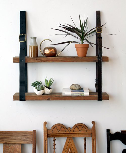 diy project: recycled leather & wood shelf | Design*Sponge