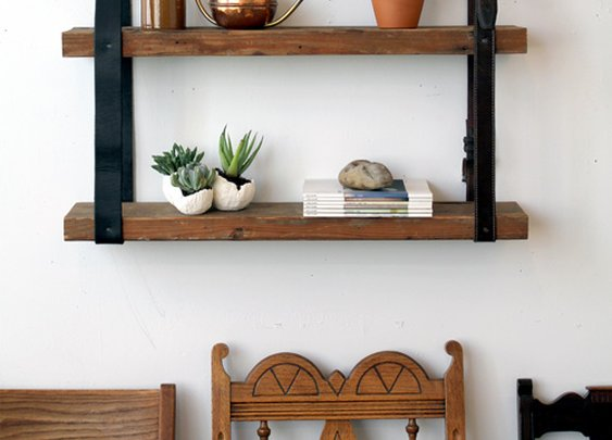 diy project: recycled leather & wood shelf | Design*Sponge