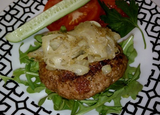 Lamb Burger with Caramelized Fennel and Shallots