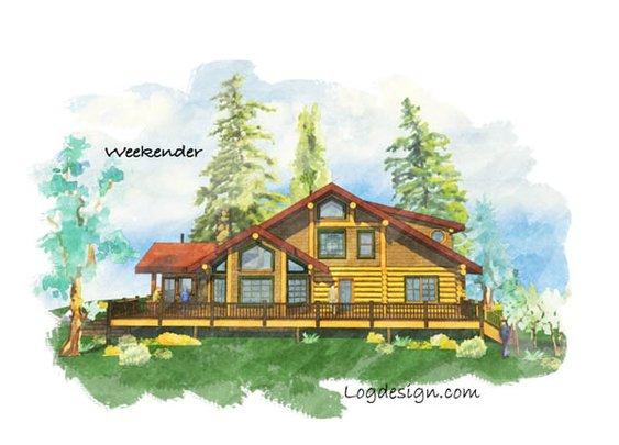 Log Home Plans: Smaller Log Homes: Weekender Floor Plan – Estemerwalt.com