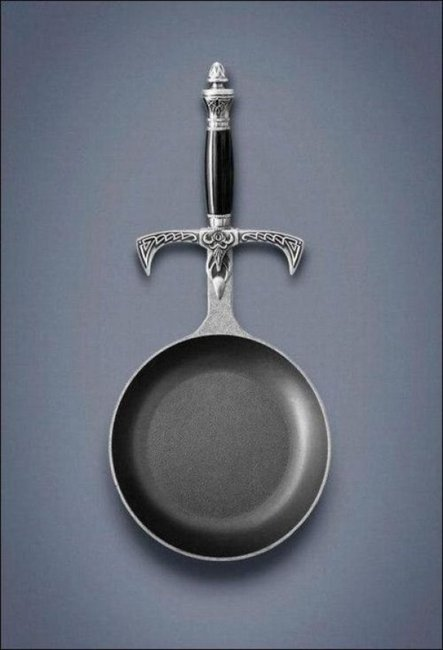 The sword handle fry pan: The best invention since the universe