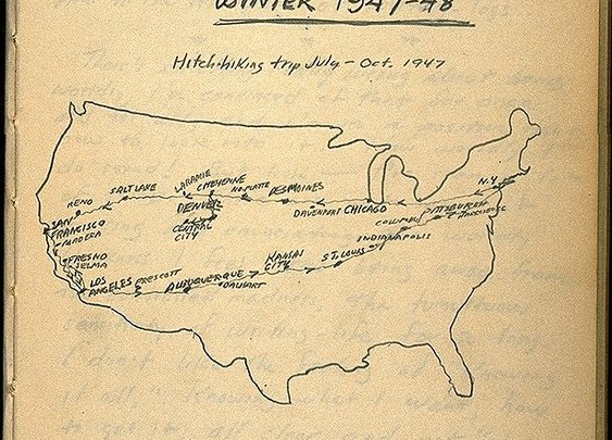 98 - 'On the Road' Map: Kerouac Traces His Trip | Strange Maps | Big Think