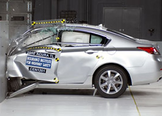 IIHS's new small overlap frontal crash test.