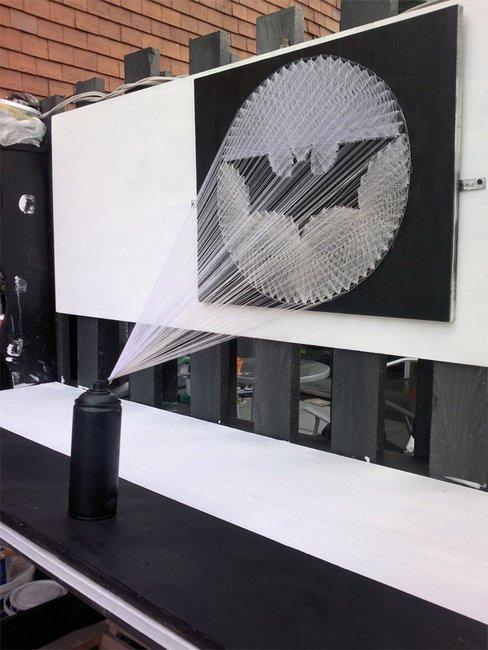 Bat-Signal Spray Paint String Art