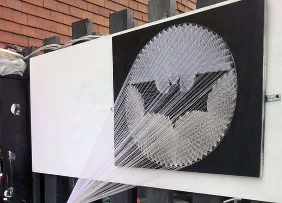 Bat-Signal Spray Paint String Art