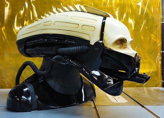 The completed Giger/Vader helmet
