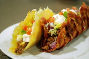 Bacon and Fried Cheese Tacos