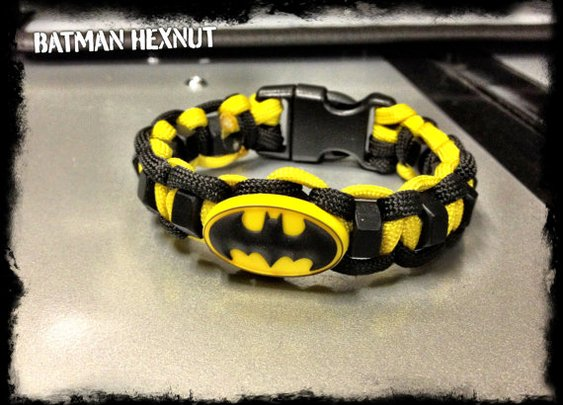 Batman paracord bracelet with hexnuts by TacticalBlackRDS on Etsy