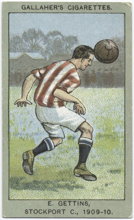 English Soccer tobacco card from 1910 -- action shot!
