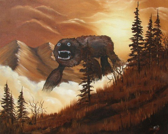 Artist Buys Landscape Paintings from Yard Sales, Inserts Monsters | Geekosystem