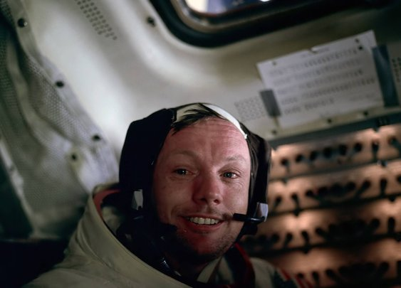 A teary-eyed Neil Armstrong photographed by Buzz Aldrin shortly after walking on the moon, 1969  - Imgur