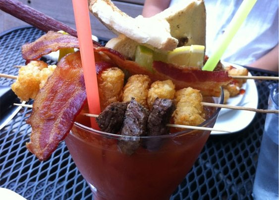 Hangover CURED: A Bloody Mary With Bacon, Tater Tots, Steak and Eggs