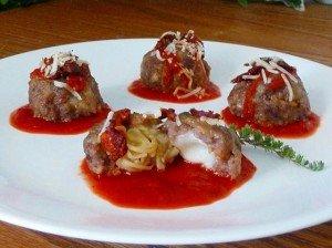 Spaghetti IN Meatballs, An Appetizer of Pasta Stuffed Inside Meatballs