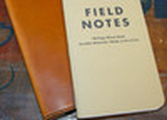 Leather Field Notes Holder in Cognac with Black Stitching