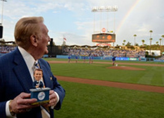 Of Course There Was An Awesome Rainbow On Vin Scully's Bobblehead Night