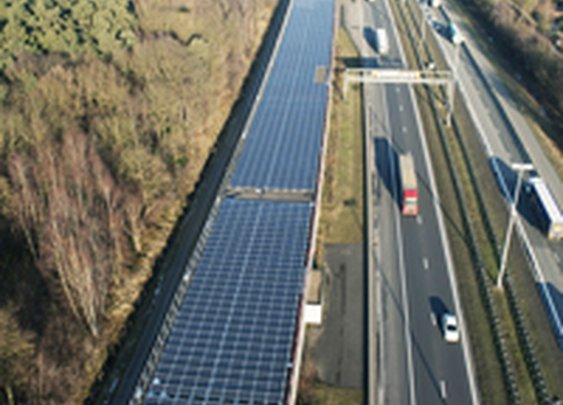 Solar panels on a rail tunnel (Paris - Amsterdam)