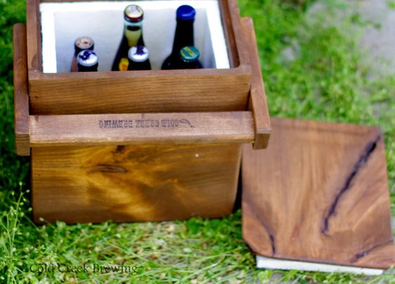 Igloo  Cooler  Insulated Carton  Wooden Cooler by coldcreekbrewing