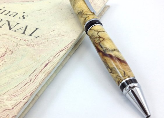 Ballpoint Pen Turned from Spalted Tamarind by DesignedTurning