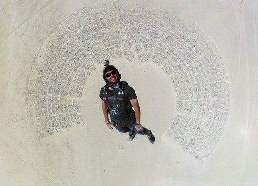 Skydiving into Burning Man