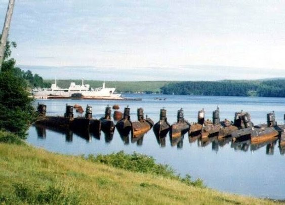 Abandoned submarines near Alexandrovsk-Sakhalinsky, western shores of Russia