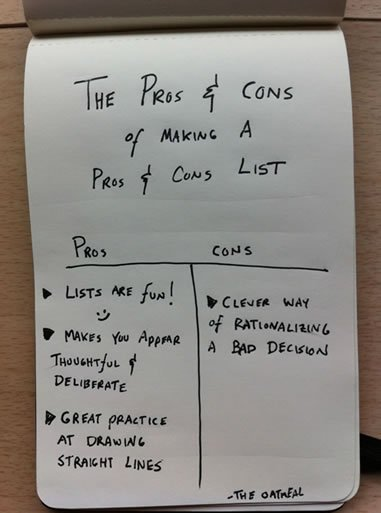 The pros and cons of making a pros and cons list - The Oatmeal
