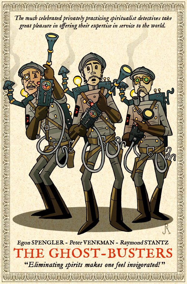 Steampunk Themed Illustrations of The Ghost-Busters (3 illustrations)