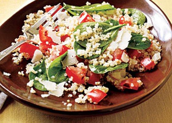 Quinoa with Roasted Garlic, Tomatoes, and Spinach Recipe   MyRecipes.com