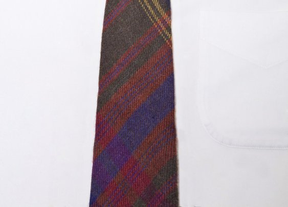 Plaid Purple-Orange-Forrest Wool Long Tie