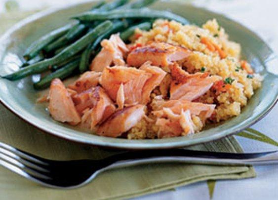 Quick-Cured Sake Salmon with Quinoa Recipe | MyRecipes.com