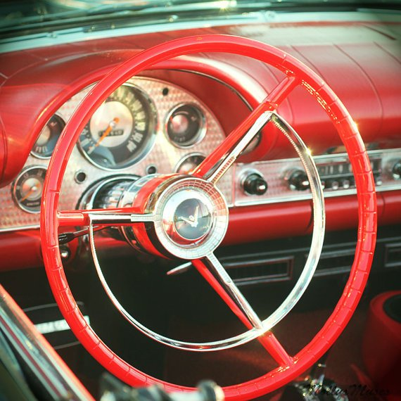 Classic Car Decor big Red Steering Wheel art by MollysMuses