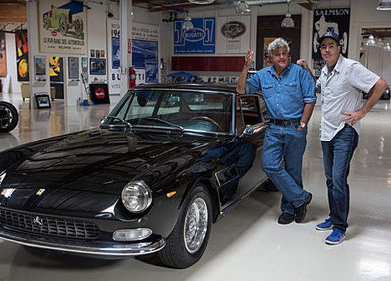 Jay Leno Welcomes Adam Carolla and His 1966 Ferrari 330 GT 2+2