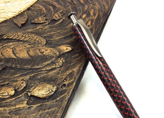 Ballpoint Pen Cast in Red & Black Fiber by DesignedTurning on Etsy