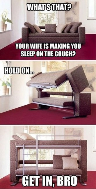 Couch converts to bed