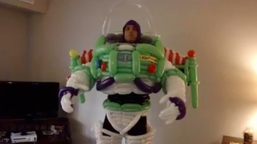 Buzz Lightyear Balloon Costume Cosplay (Video)