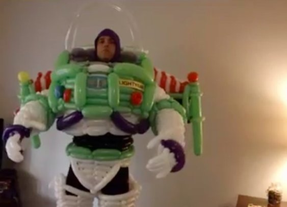 Buzz Lightyear Balloon Costume Cosplay (Video)