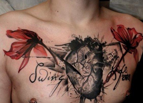 Tattoos I Like / #Tattoo Realistic Tattoo #Heart #Chestpiece #Flowers  By Buena Vista Tattoo Club Würzburg, Germany