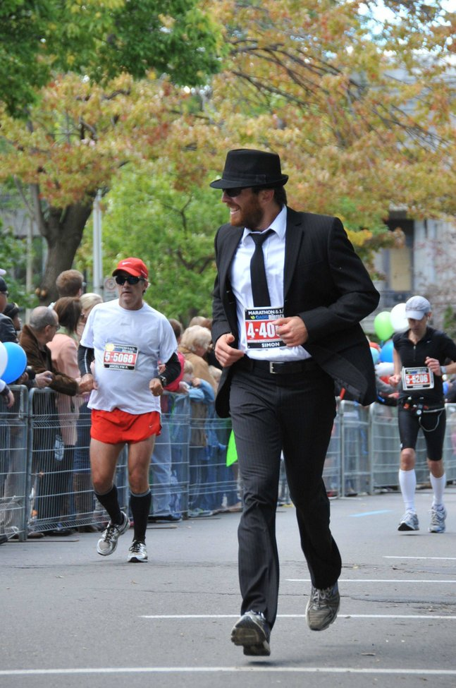 Running a marathon in a suit ... very manly!