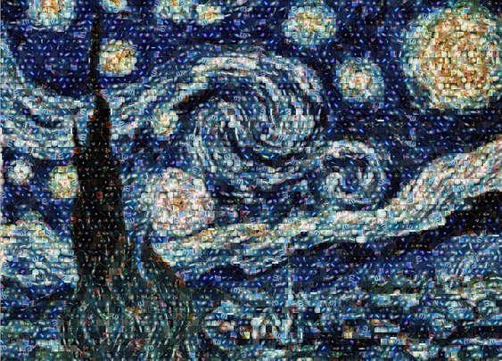 Van Gogh's Starry Night as you've never seen it before: Astronomy student creates mosaic using Hubble's best deep space pictures